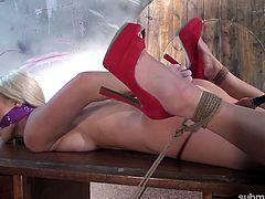 Tied up blonde Blanche Bradburry gets punished in the basement