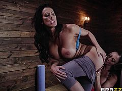 Strong feelings covered them completely unexpectedly, right during sports in the gym. Horny milfs started to finger and lick each other's pussies, rubbing and sucking their unbelievably big tits. Sensual girl on girl action at its best!