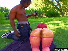 Her fine black ass is always sought after by the horny dudes that just got back from a game of ball with the boys. Tyrell takes Pinky to a clearing in the woods where she gets her wet pussy fucked and glazed just the way she likes.