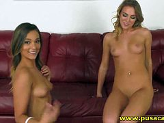 Two naked teenage hotties are playing with each other and they are both so sexy and tanned perfectly, hot and spicy lesbians! The live cam shows are the most popular niche in porn and we daily extract some of the best performing models and show specials! In this one they gone wild, licking kissing and fucking each others shaved pussy!
