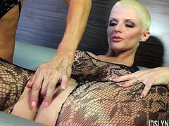 Extraordinary lesbian action with a babe with no hair Joslyn James