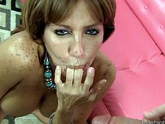 Creaming Tara Holiday's face of a true milf after fucking her