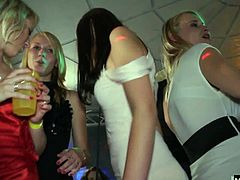 This scene is of a large group at a party and there are plenty of hardcore things going on if you look. Another brunette girl has her bare tits glazed with sticky cum and at the same time a redhead is spreading her pussy lips for a cock