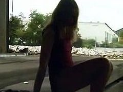 Really cute blond peeing in public