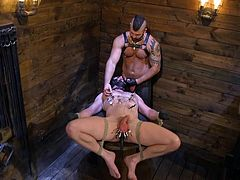 This time Brian Bonds gets a great chance to enjoy hard gay bondage with intense sm and hardcore sex. His face was completely covered with leather mask as his swollen balls were pinched with hard metal clamps. Join!