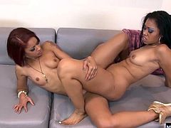 These ebony beauties banging each others pussies Finally off the phone, they can turn their attention to dripping spit all along one anothers slits, lubing up those clits for tonguing and tickling with fingers. Eating pussy gets these girls all creamy with climax juice, so their scissoring is slick and wet