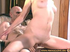 Wendy James bent over a pool table for a man's penis