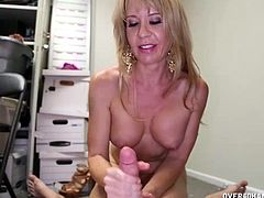 This young guy is working in their family business and it has become tough since his hot new GF too is employed their. She always screws things up at the office and this young guy blackmails her for a handjob. She has no choice but to make him cum in her hands.