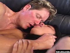 Sativa Rose is back for yet another hard pounding pussy smushing scene. In this one, shes wearing some sexy lingerie and riding a cock like shes the boss. The only time her aggression is calmed is when shes got a thumb manually massaging out her magic bean. She takes a creampie in the end and we catch some sweet footage of jizz just dripping out of her slit.