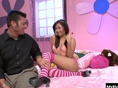 Instead shes making sure that this guy realizes why a naughty 18 year old Asian is the best cock sucker that hes ever going to experience. Shes also fabulous when she climbs on top of his dick, wearing knee high socks and a naughty smile.
