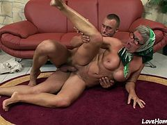 This experienced married granny will suck his hard cock and ride him like a slut.