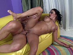 Claudia Valentine seduced by a handsome hunk for a shag