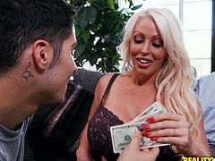 Money for a curvy slut with giant tits Alura Jenson whom he fucks