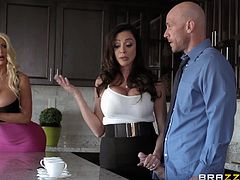 This guy does not rest either day or night and it's not surprising. With as big dick as his, any woman would be happy to have him in her bed. This day was successful for Ariella Ferrera and Nicolette Shea, and here the three of them in the kitchen, wildly fucking right on the kitchen counter.