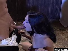 This blowjob specialist has him rock hard and he returns the favor by plowing her pussy until shes cumming, then turns her over for one last fuck before spurting in her mouth.
