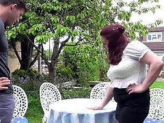 Busty British mom fucked by son on backyard