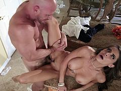 Madison Ivy fucked on the kitchen table and made to swallow