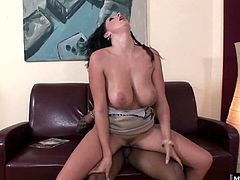 She crawls across the floor, giving you an upskirt of her super soft legs and bubble butt, while her interracial boyfriend sits on his leather couch, watching her gigantic knockers swing. Soon, she gives him a blowjob, followed with a pussy pounding and a titty fuck, before a facial.