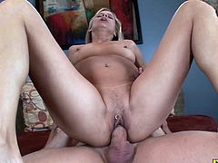 This clitpierced milf gets her ass drilled hard by a huge dick until he cums on her pussy and asshole