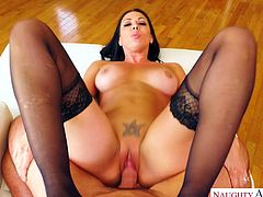 Hot paramour in corset and stockings Rachel Starr goes wild on a hard cock