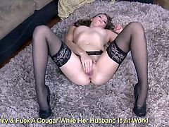 Stunning blonde Shae Snow in sexy black lingerie rubbing her pussy on the floor