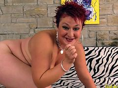 Redhead mature woman shows her mature tits pussy and ass She rubs her pussy with her fingers Then sucks a real thick dick Then takes it in her old pussy and get fucked good