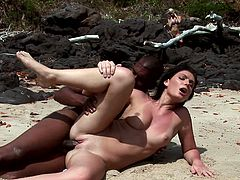 Roxy Panther is at the beach with a black fella enjoying his dick