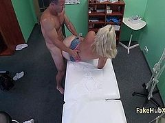 Doctor jizzed horny blonde on exam