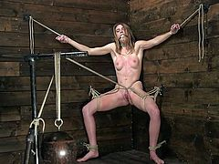This hot beauty, Ashley Lane, needs to stand up against this heavy metal weight, being tied up with ropes and immobilized, while she gets her pussy stimulated with the help of vibrator. Join and have fun!