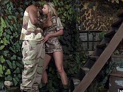 Shes seen it pressing against his fatigues but when she finally gets her hands, mouth and pussy on it, it is bigger than she ever imagined. Rihanna gets so wet for his cock that it instantly slips deep into her slit and you can hear her moan with pleasure as she takes every inch from behind.