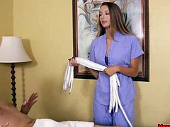 This babe turned so much on during her massage session so she exposes her fleshy pussy and starts rubbing her wet clit. While doing this she grabs her clients pulsating cock and sensually jerks it for good. She takes him to the brink and back again in order to help him load a big cumshot.