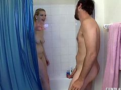 She was having a shower when her man gets in asking to join her. But he wants not a shower but a handjob. Naked blonde 