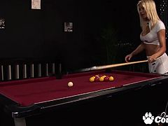 Gorgeous blonde Natasha Marley with huge boobs banging a huge cock on pool table