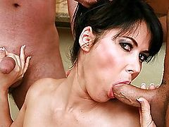 Exotic Brunette Eva Pleases 3 Men At The Same Time