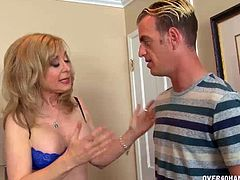 This milf loves when horny guys get erections before her. Reason is then she gets to milk their stiff dicks dry.