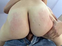 Blonde babe with a fat ass fucked hard by huge cock in many different positions She takes it all until theres cum all over her slutty mouth