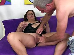 Sexy BBW gets her tits sucked and kissed by a mature guy She gives him a blowjob He fingers her pussy and then pound it deep and good He spills cum over her chin