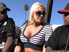 Busty blonde Skylar has confined in Rico Strong and Jon Jon about an upcoming double penetration and her self doubt is evident. Skylar's windpipe was blocked by 2 black cocks...