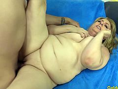 Mature slut sucks a long and stiff cock so good She gets her tits sucked Then gets her pussy fucked deep and good in many positions He cums in her mouth