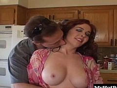 He pulls her out to the living room and starts her in on his dick right away, working it down to the back of her throat and priming her for the anal fucking thats sure to make this red head cum.