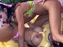 Sexy sluts Catalina & Layla Rivera sucking and fucking
