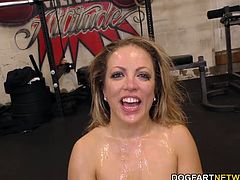 Blonde personal trainer Carmen loves interracial sex. She gets gangbanged in the gym by big black cocks.