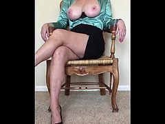 Exposing my 55 year old mature 36DDD big breast in my office