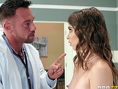 This sexy doctor was so aroused by the beauty of Riley Reid, that his big dick instantly became hard. She also was horny and they decided not to lose such a wonderful opportunity and to fuck right here, in the doctor's office.