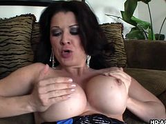 Big tits Raquel giving dick titjob then ravished hardcore