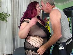 Redheaded plumper visits a masseur He sucks her tits kiss her belly and ass He starts massaging her on the table Then he teases her pussy with sex toys like dildo and vibrators until she gets orgasm
