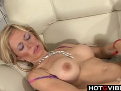 Busty blonde dildoes her shave pussy This mature babe has her pussy licked and gives a blowjob She then rides cock reverse cowgirl and has cum shot onto her bigtits
