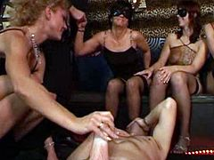 Horny sluts getting fucked in group sex action