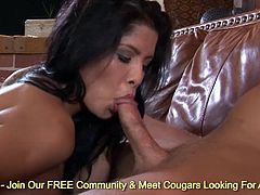 Giant boobs Alexis Amore ass riding on massive cock to gets her mouth full of jizz