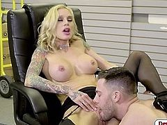 Blonde babe sucks her office mates dick